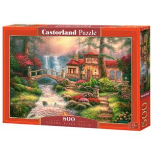 hus ved vandfald puzzlespil