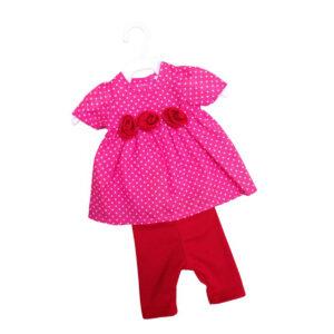 Pink kjole med bukser dukketøj