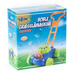 Græsslåmaskine med sæbebobler